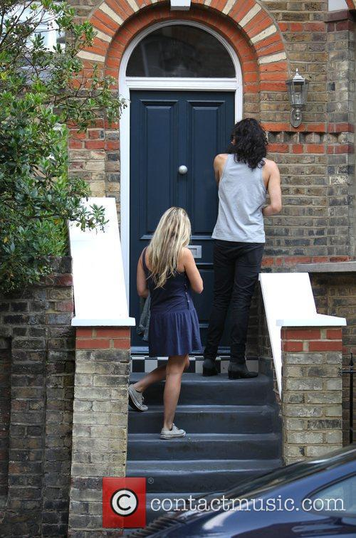 Russell Brand, Laura Gallacher Go Shopping In Hampstead and Then Return To His Home 5