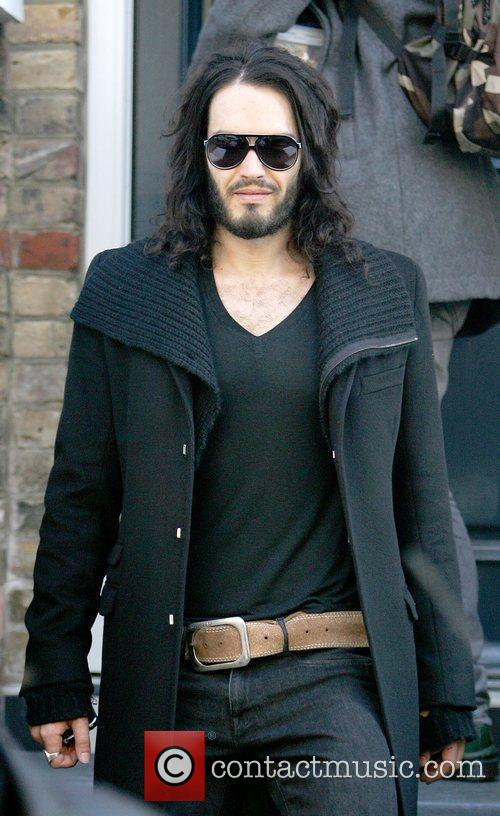 Russell Brand after visiting a London Clinic London,...