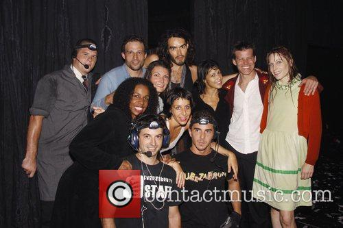 Russell Brand poses with the cast of the...