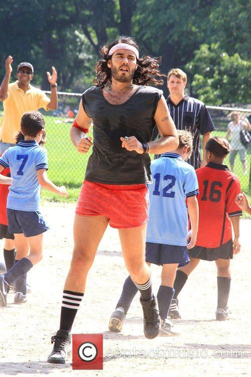 Russell Brand on the set of his upcoming...