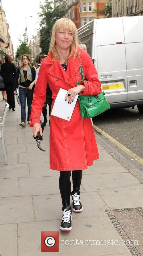 Leaving the Radio One studios wearing wet-look leggings,...