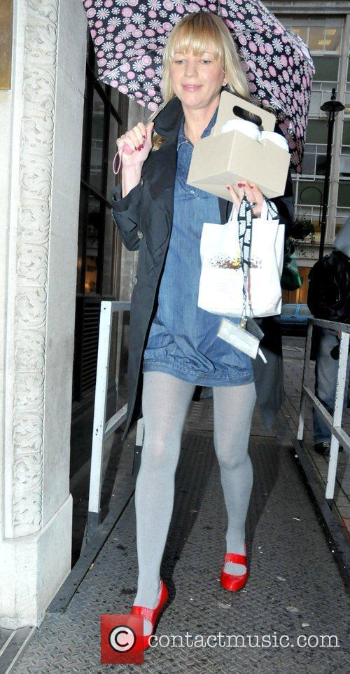 Sara Cox outside BBC Radio One studios with...