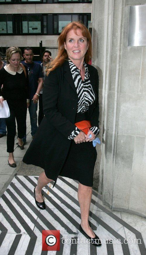 Sarah Ferguson outside the BBC Radio 2 studios...