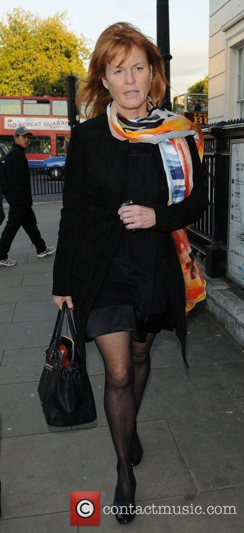 Sarah Ferguson arriving for her 50th Birthday Party....