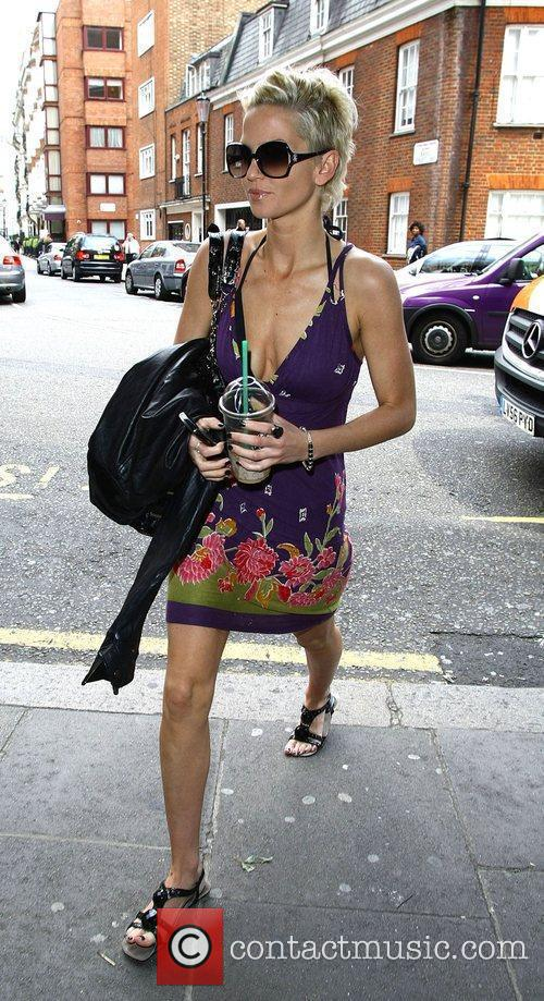 Sarah Harding from Girls Aloud arrives at Harrods...
