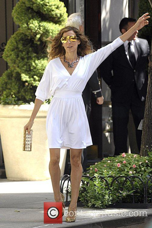Sarah Jessica Parker wearing a white dress on...