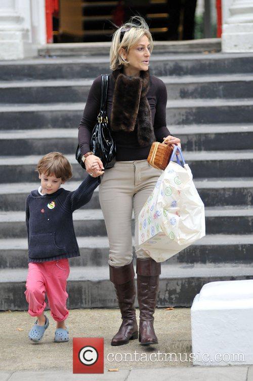 Emily Maitlis taking her children to school London,...