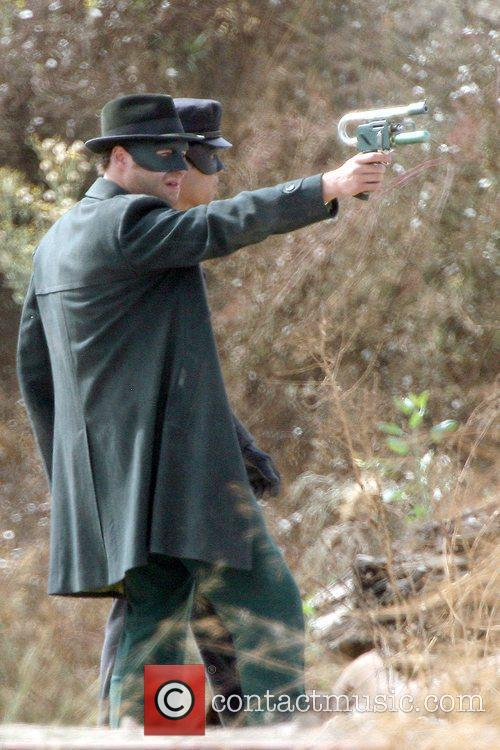 Seth Rogen On The Set Of His Upcoming Film 'the Green Hornet' 6