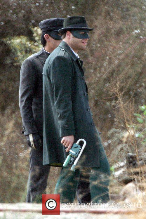 Seth Rogen On The Set Of His Upcoming Film 'the Green Hornet' 5