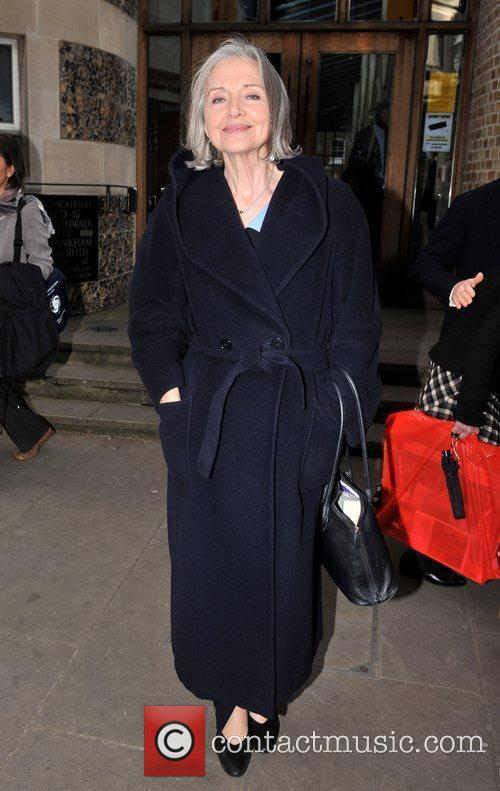 Anna Ford attending the memorial service for Sir...