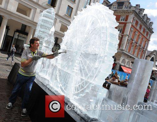 London Eye Ice Sculptures of London's skyline in...