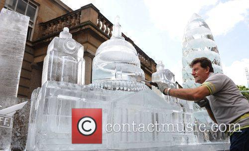 Ice Sculptures of London's skyline in Covent Garden...