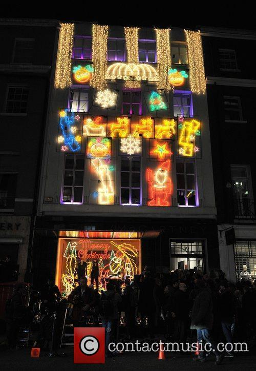 Atmosphere Stella McCartney boutique Christmas lights switch on....