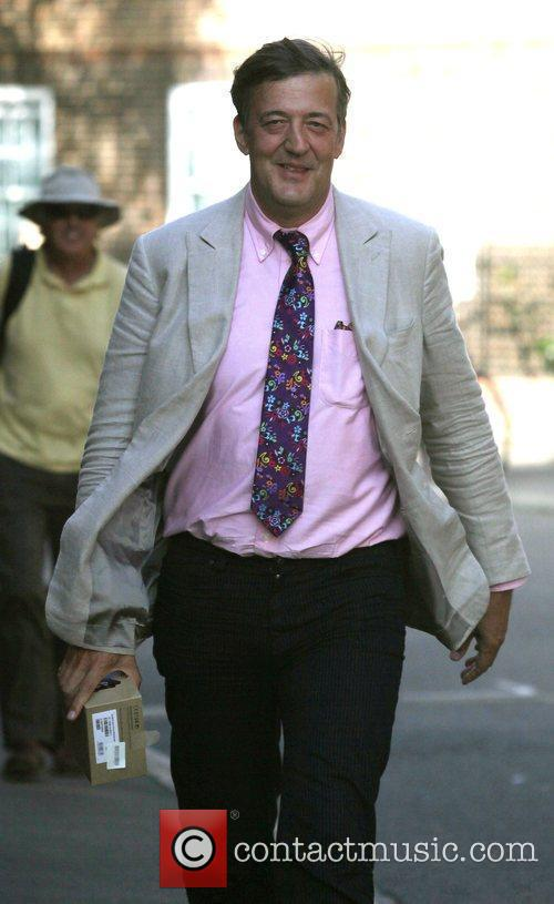 Stephen Fry leaving the final Ashes test at...