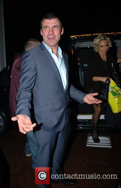 Joe Calzaghe arrives back at his hotel after...
