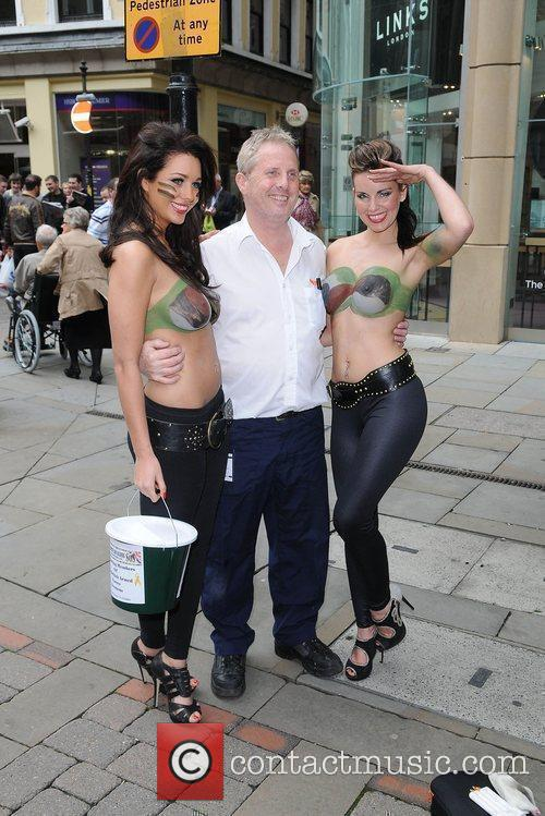 Women With Painted-on Camouflage Bras Collect Money For The Support Our Soldiers (sos) Charity 7