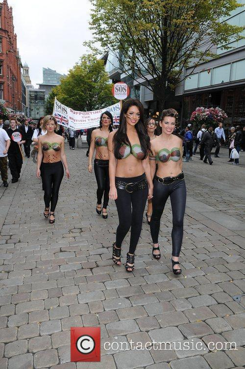 Women With Painted-on Camouflage Bras Collect Money For The Support Our Soldiers (sos) Charity 5