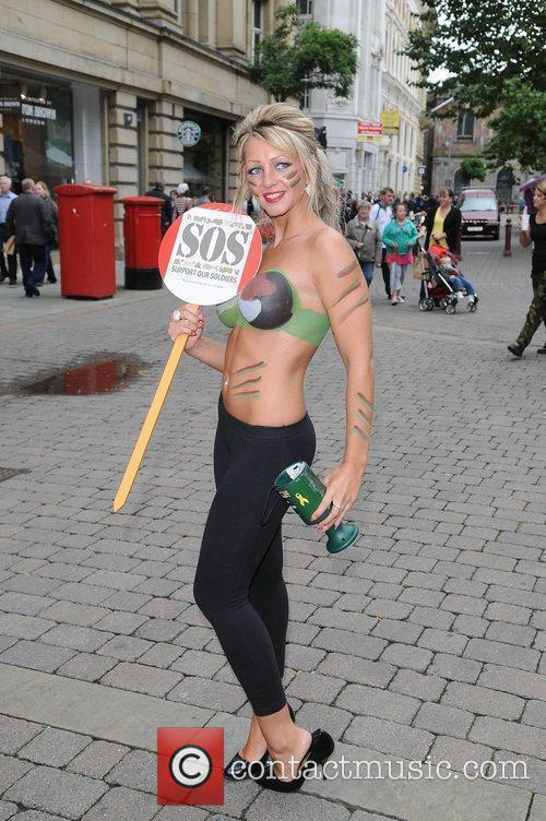 Women With Painted-on Camouflage Bras Collect Money For The Support Our Soldiers (sos) Charity 11
