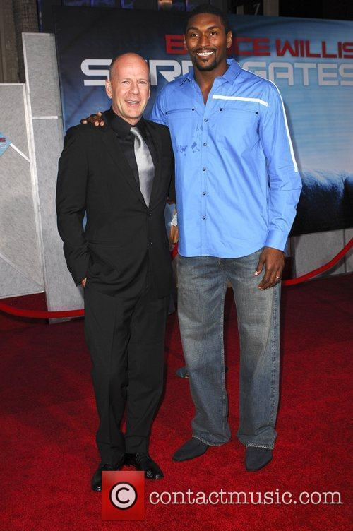 Bruce Willis and Ron Artest The Surrogates premiere...