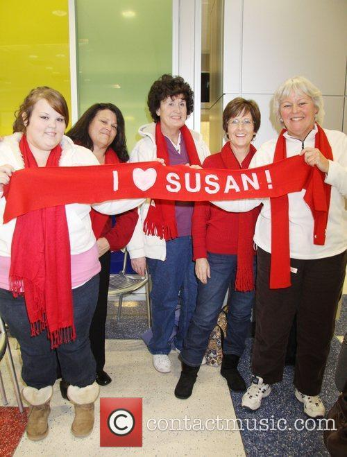 Susan Boyle fans wait for her at JFK...