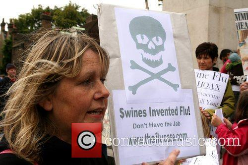 Demonstrators Protest Outside The Houses Of Parliament Over Plans To Enforce A Mandatory Vaccination For Swine Flu 9