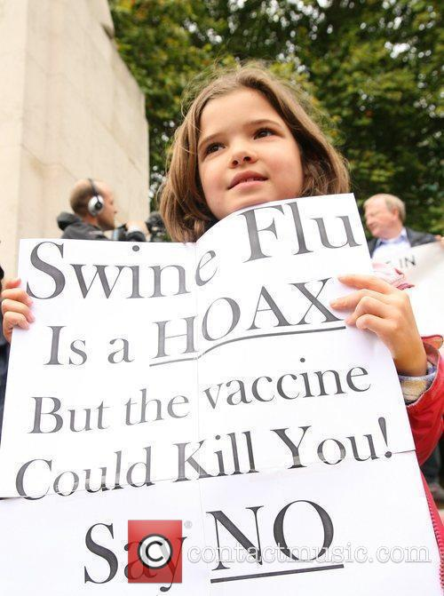 Demonstrators Protest Outside The Houses Of Parliament Over Plans To Enforce A Mandatory Vaccination For Swine Flu 8