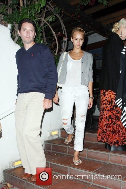 Jessica Alba leaving Taverna Tony restaurant where she...