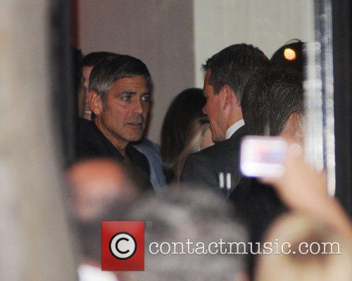 George Clooney and Matt Damon seen at the...