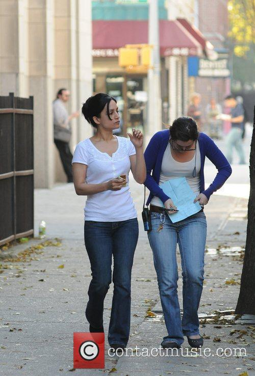 Archie Panjabi on the set of 'The Good...
