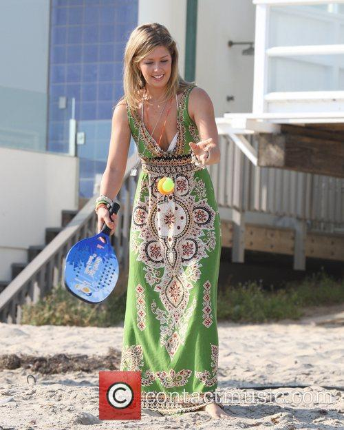 Holly Montag filming The Hills on Malibu beach...