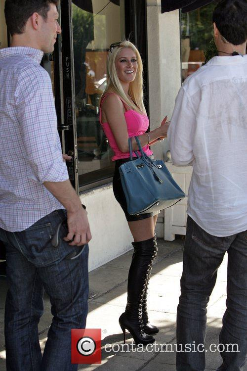 Heidi Montag outside a restaurant on the set...