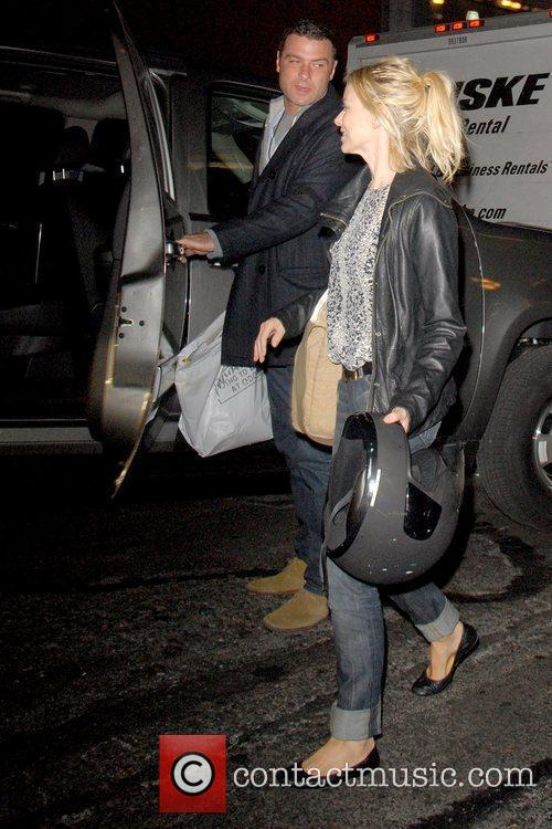 Naomi Watts and Liev Schreiber outside American Airlines...