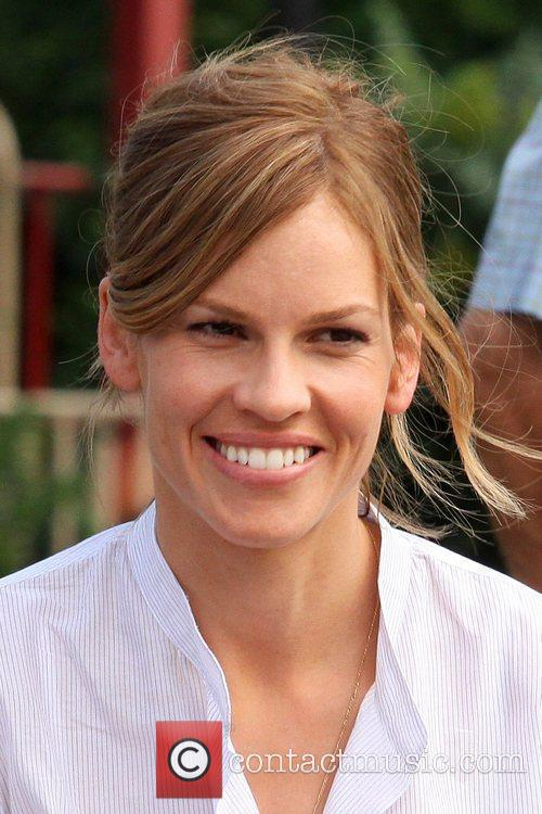 Hilary Swank on the set of 'The Resident'...