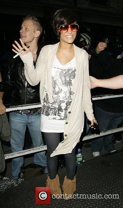 Frankie Sandford poses for pictures outside the BBC...