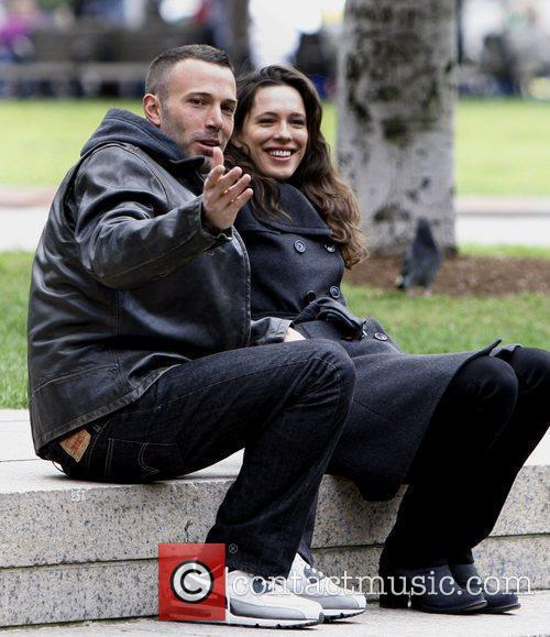 Ben Affleck and Rebecca Hall on the set...