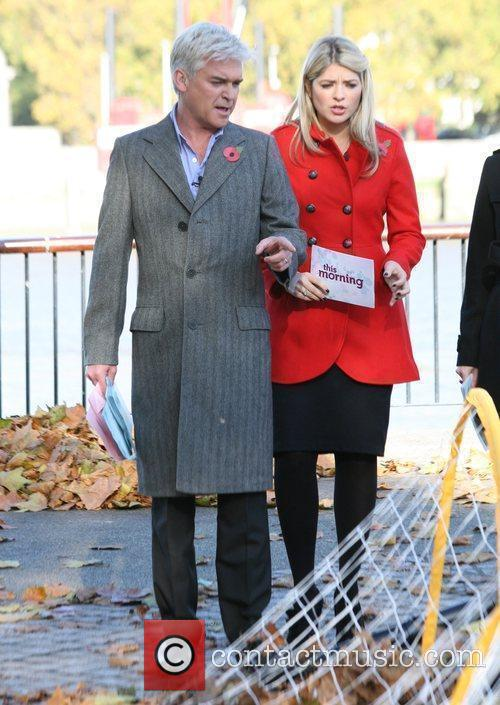 Holly Willoughby and Philip Schofield outside presenting a...