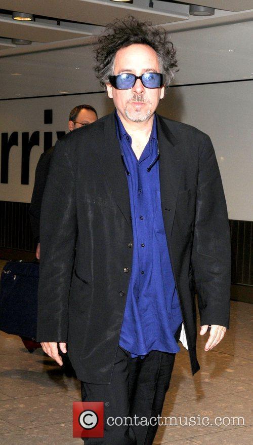 Tim Burton arriving at Heathrow Airport. London, England