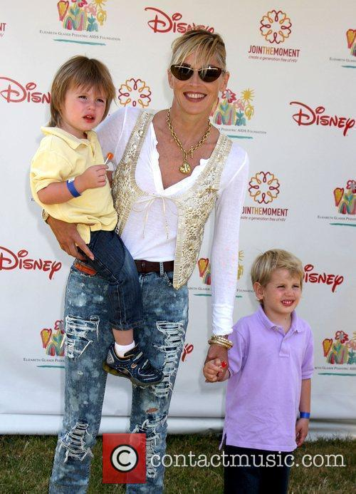 Sharon Stone with her sons Quinn and Laird...