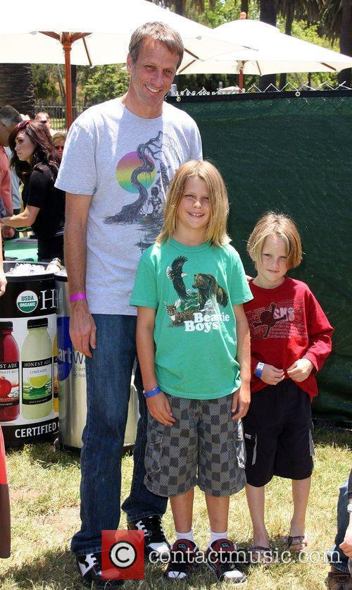 Tony Hawk with his sons Elizabeth Glaser Pediatric...