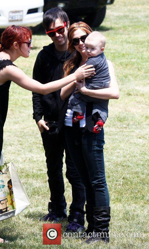 Ashlee Simpson and Pete Wentz with son Bronx...