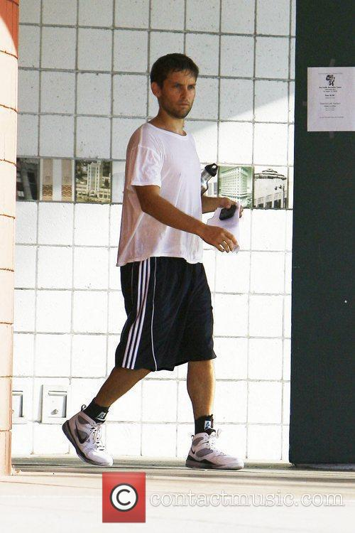 Tobey Maguire leaving a gym sweaty after playing...
