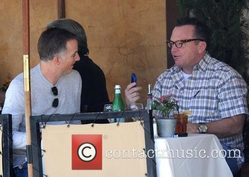 Enjoys lunch with a friend in Beverly Hills