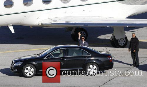 Tom Cruise arriving at Salzburg airport on a...