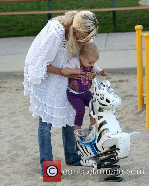 Tori Spelling  with her daughter Stella at...