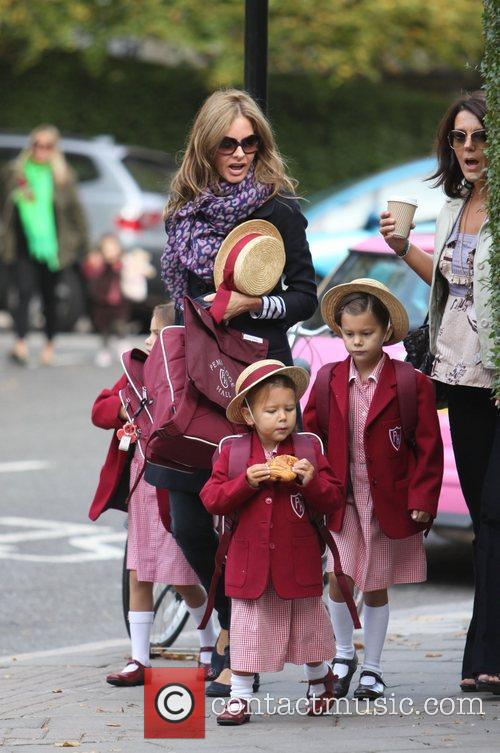 Trinny Woodall takes her daughter to school London,...