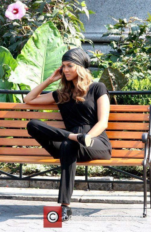Tyra Banks spotted talking on her cell phone,...
