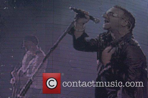 Bono U2 performing live at Parc des Sports...