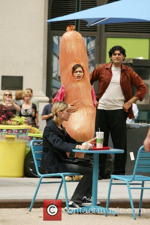 America Ferrera seen filming an episode of the...