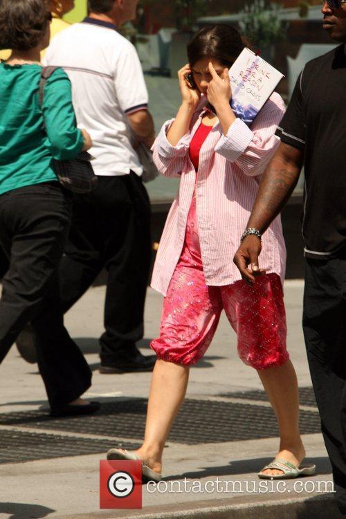 America Ferrera taking a break during the filming...