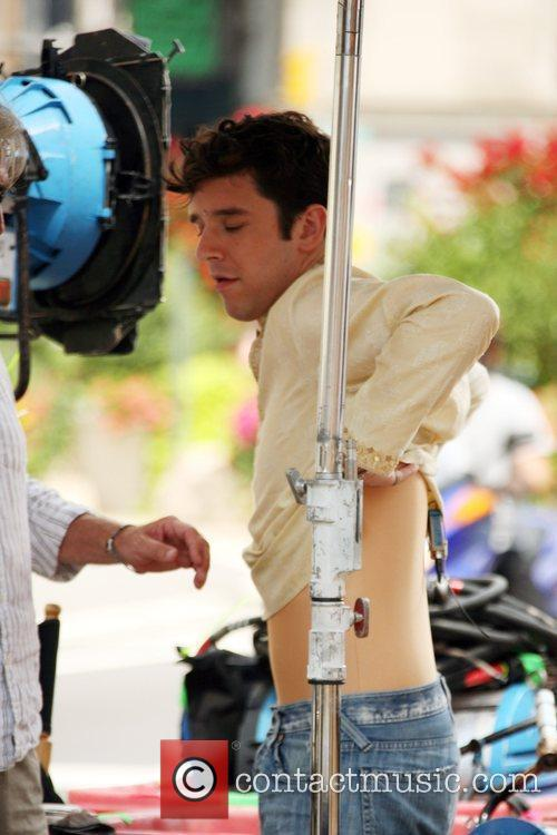 Michael Urie seen filming an episode of the...
